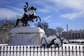 Jackson Statue Canons Lafayette Park White House After Snow Pennsylvania Avenue Washington Dc