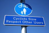 Cyclists Slow Sign poster
