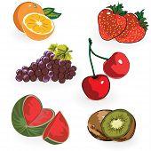 Fruits ,orange,strawberry,cherry,grapes,watermelon
