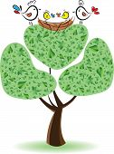 Birds On The Tree With Nestlings.vector Illustration