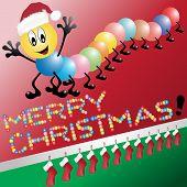 Ciempiés lindo deseos de una feliz Navidad