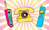 Set Of  Two Old Violet And Blue Retro Retro Vintage Hipster Vintage Square First Mobile Phones With  poster