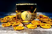Crypto currency EOS.IO was found in the treasure box poster