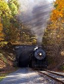 Steam Locomotive Leaving Tunnel
