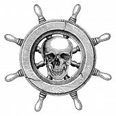 Old Steering Wheel Ship Hand Drawing Vintage Style With Human Skull,pirate Logo poster