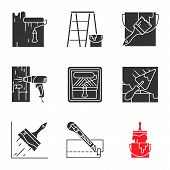 Construction Tools Glyph Icons Set. Silhouette Symbol. Paint Roller, Scaffolding Ladder, Bucket With poster