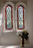 Two Arched Windows Of A Church