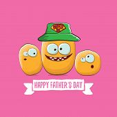 Happy Fathers Day Greeting Card With Cartoon Father Potato And Kids . Fathers Day Vector Label Or Ic poster