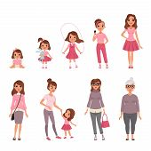 Life Cycles Of Woman, Stages Of Growing Up From Baby To Woman Vector Illustration Isolated On A Whit poster