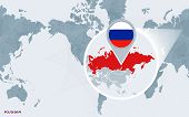 World Map Centered On America With Magnified Russia. Blue Flag And Map Of Russia. Abstract Vector Il poster