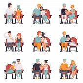 Couples Sitting In Cinema Theatre And Watching Movie Set, Men And Women On Movie Date Vector Illustr poster