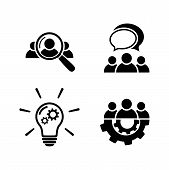 Teamwork Icon Set. Human Resource Icon. People Talking Icon.idea Icon - Lamp Bulb And Gear. Search F poster