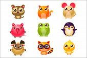 Adorable Baby Animals In Girly Design. Set Of Bright Color Vector Icons Isolated On Background. Cute poster