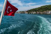 Beautiful Scenic View Of Bosphorus Coastline With Flag Of Turkey In Istanbul poster