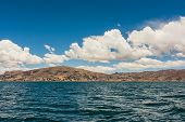 Panoramic View Of Puno Mountains From The Titicaca Lake, Peru poster