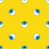 Seamless Pattern With Eyes On Yellow, Background With Eyes, Wallpapers With Cartoon Blue Eyes poster