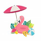 Summer Beach Vector Background With Pink Flamingo Inflatable Pool Float, Exotic Leaves,and Beach Acc poster