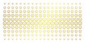 Glad Smiley Icon Gold Colored Halftone Pattern. Vector Glad Smiley Shapes Are Organized Into Halfton poster