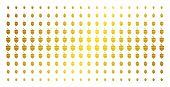 Oak Acorn Icon Gold Colored Halftone Pattern. Vector Oak Acorn Symbols Are Arranged Into Halftone Ma poster
