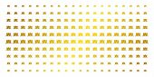 Kitty Icon Gold Halftone Pattern. Vector Kitty Pictograms Are Arranged Into Halftone Matrix With Inc poster