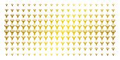 Filter Icon Gold Halftone Pattern. Vector Filter Objects Are Organized Into Halftone Grid With Incli poster