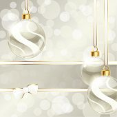 Cream-colored banner with Christmas ornaments