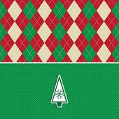Christmas tree background with argyle background