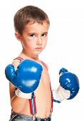 stock photo of hematoma  - Little bully boy with black eye in boxing gloves fighting stance isolated on white - JPG