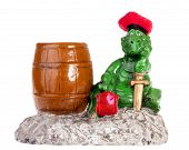 Statuette Of Funny Dragon With Barrel