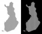 Halftone Round Dot Finland Map. Vector Territorial Maps In Grey And White Colors On White And Black  poster