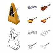 Musical Instrument Cartoon, Outline Icons In Set Collection For Design. String And Wind Instrument I poster