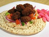 Plate With Falafels And Pita Bread