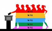 Voters Crowd Silhouette With Election Results Of Political Parties Percentages. All The Silhouette O poster