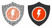 Electric Guard Collage Icon Of One And Zero Digits In Randomized Sizes. Vector Digital Symbols Are O poster