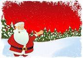 stock photo of christmas cards  - Illustration of christmas card with santa claus character and winter landscape - JPG