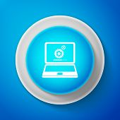 White Laptop Update Process With Gearbox Progress And Loading Bar Icon Isolated On Blue Background.  poster