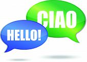 Hello and ciao messages illustration design