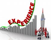 The Graph Of Experience Growth. Graph Of Rapid Growth With Red Word Experience And Rocket. 3d Illust poster