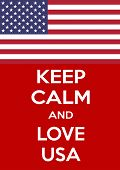 Keep Calm And Love On Usa. Vertical Rectangular Red And White Motivational Poster Based On Style Kee poster