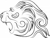 Head Of Lion With An Open Mouth With Canines. Vector Logo. Linear Art. Concept Of Power And Power. poster