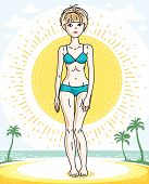 Attractive Young Blonde Woman Posing On Tropical Beach With Palms And Wearing Blue Bikini. Vector Ni poster
