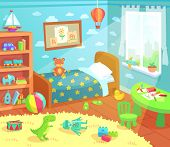 Cartoon Kids Bedroom Interior. Home Childrens Room With Kid Bed, Pencils Drawings And Child Toys Tir poster