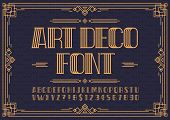 Art Deco Font. Retro Font Sans Serif Style For Party Poster, Printing On Fabric, T Shirt, Promotion, poster