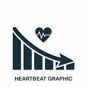 Heartbeat Decrease Graphic Icon. Mobile App, Printing, Web Site Icon. Simple Element Sing. Monochrom poster