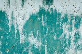 Old Turquoise Worn Metal Surface With Paint Background. Abstract Corroded Colorful Rusty Metal Backg poster