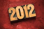 The year 2012 done in letterpress type
