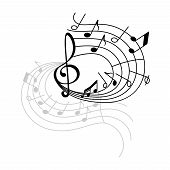 Music Note Stave Swirl Icon With Shadow. Musical Note And Treble Clef On Swirling Musical Staff For  poster