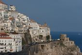 image of saracen  - Town of Amalfi showing coastal road and promontory fort - JPG