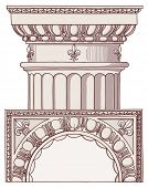 Chapiter- hand draw sketch doric architectural order. Bitmap copy my vector ID 84868279
