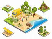 Isometric Outdoor Recreation Concept With Tourists Travel Bus Camping Items Accessories And Nature L poster
